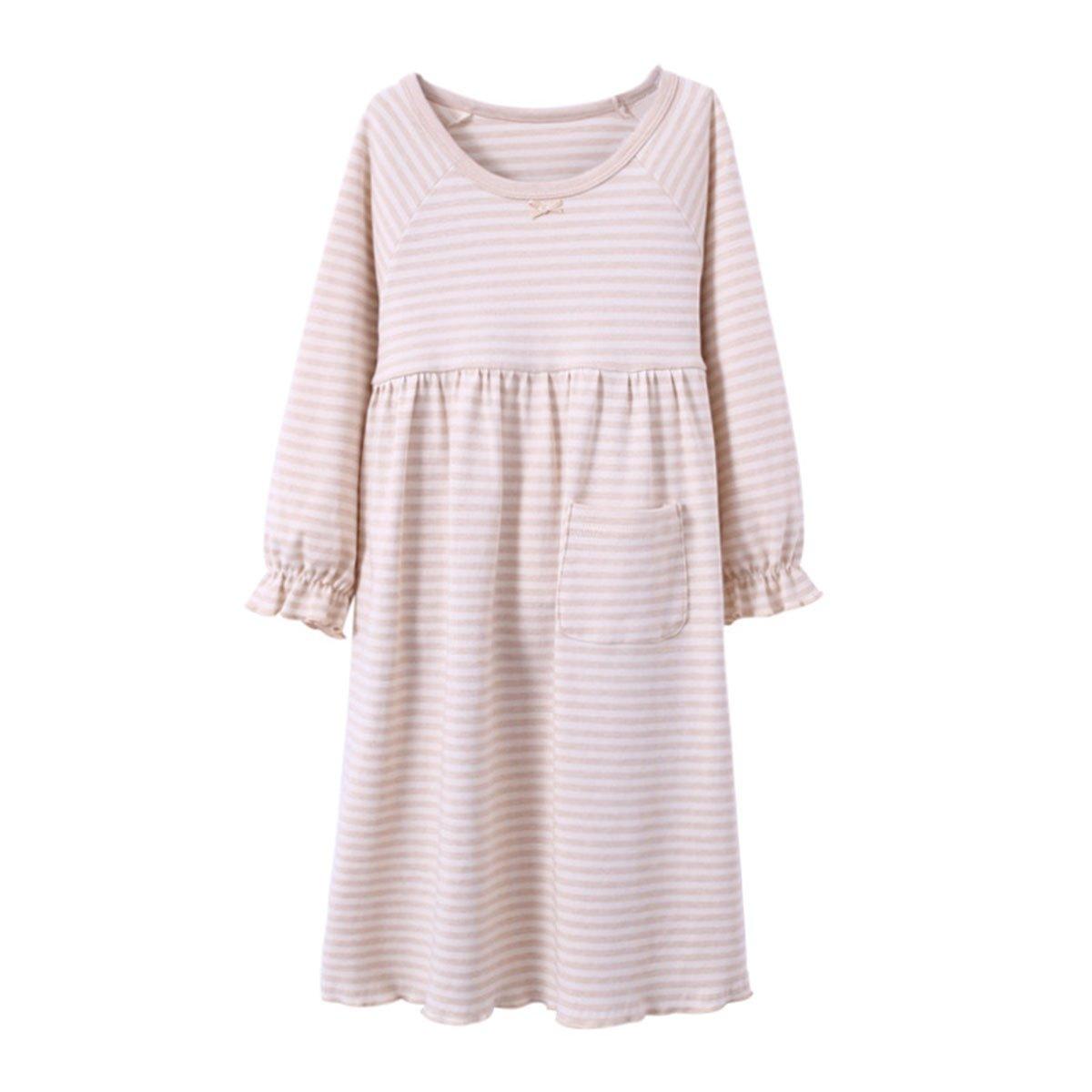 KINYBABY Girls Nightgown Sleep Shirts Cotton Long Sleeve Sleepwear with Pocket