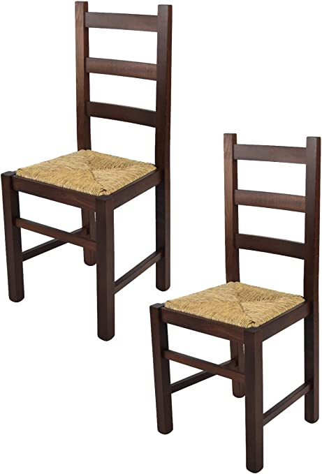 Tommychairs Struttura in Legno di faggio Levigato Color Noce Scuro e Seduta in Paglia Vera Sedia Classica Rustica per Cucina Bar e Sala da Pranzo