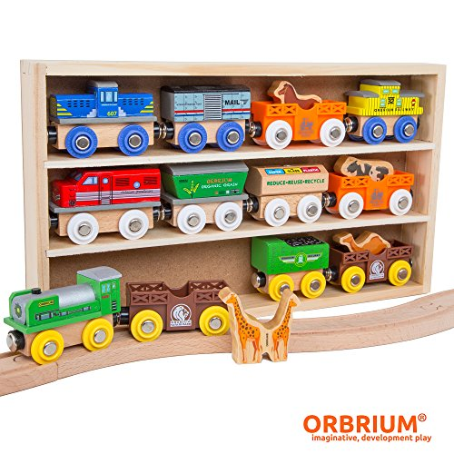 Orbrium Toys 12 (18 Pcs) Wooden Engines & Train Cars Collection with Animals, Farm Safari Zoo Wooden Animal Train Cars, Circus Wooden Train Compatible Thomas The Tank Engine, Brio, Chuggington