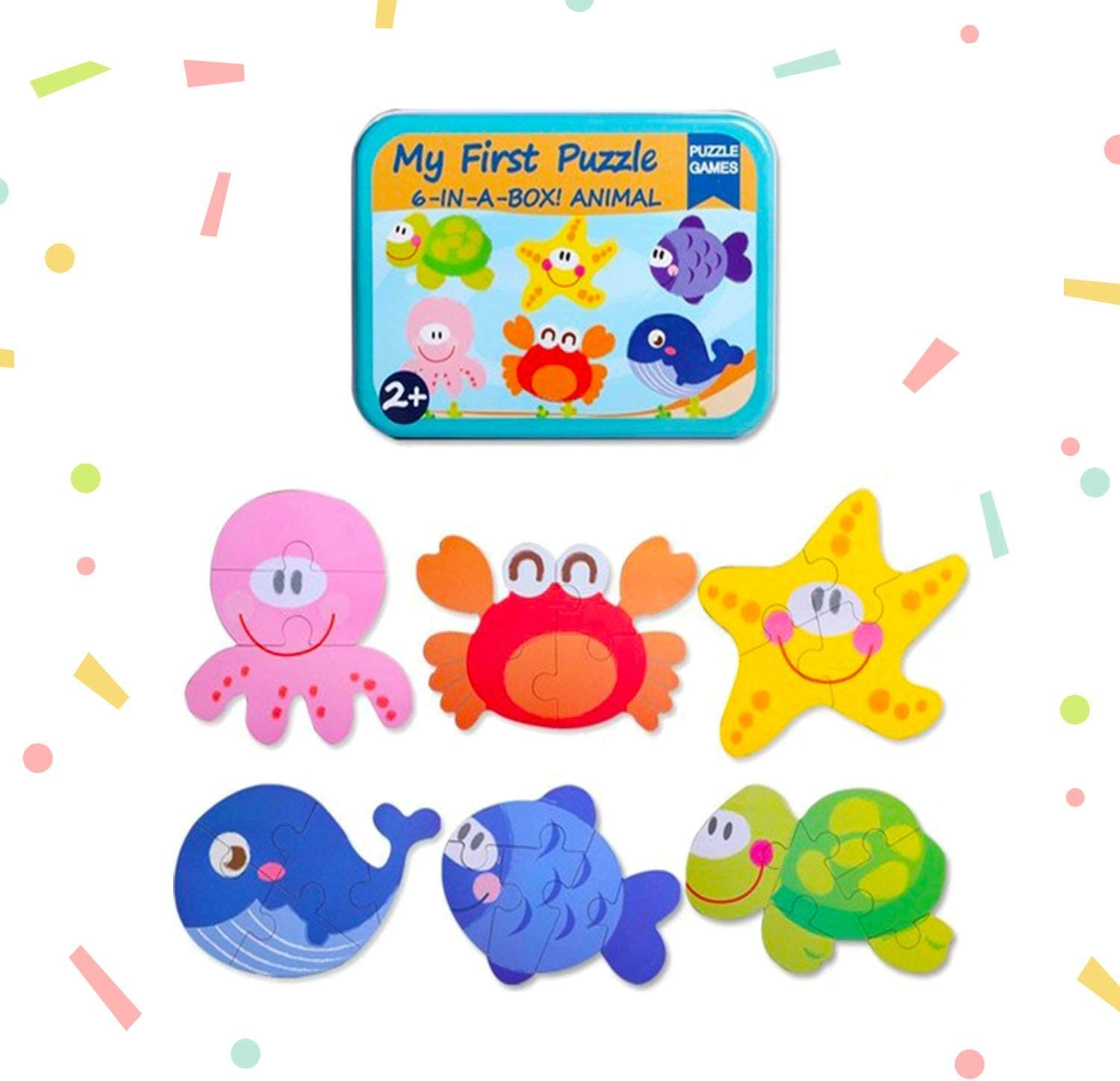 Baby's First Puzzle Wooden Animal and Vehicles Puzzles for Cognitive Development of Toddlers and Preschoolers – Homeschooling and Kindergarten Montessori Teaching Aids – Sea Animals