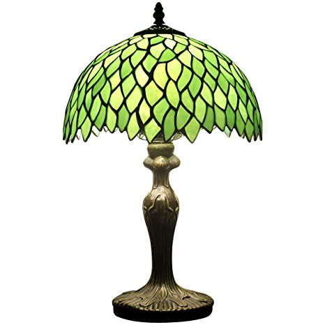 Tiffany Style Table Lamp Light Green Wisteria Stained Glass Lampshade 18  Inch Tall Beside Bedroom Desk