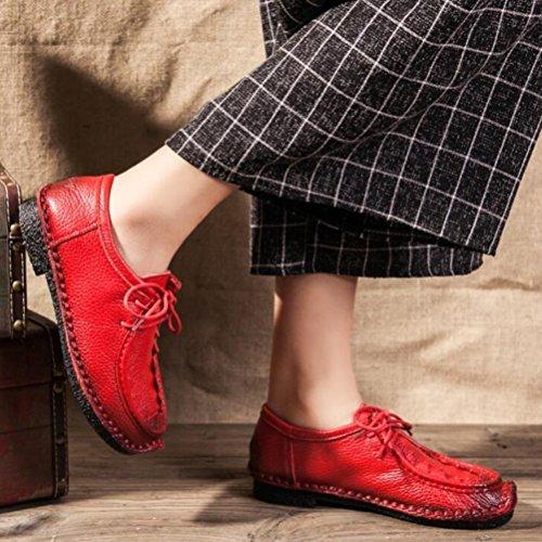 Vogstyle Damen Vintage Schön Weich Leder Low-top Schnürschuhe Schuhe Art 1 Rot