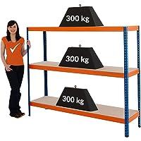 Certeo rek voor zwaar belastbare belasting | HxBxD -150x180x45cm | Laadvermogen tot 300 kg per rek | Diepte 45cm | Kan…
