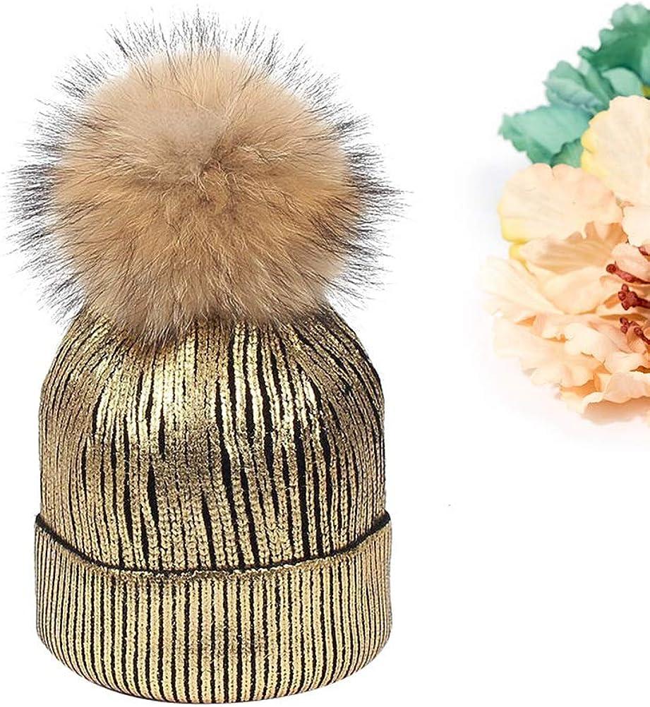 Black + Golden BESTOYARD Beanie Metallic Shiny Beanie Skull Pom Pom Hats Cap for Women