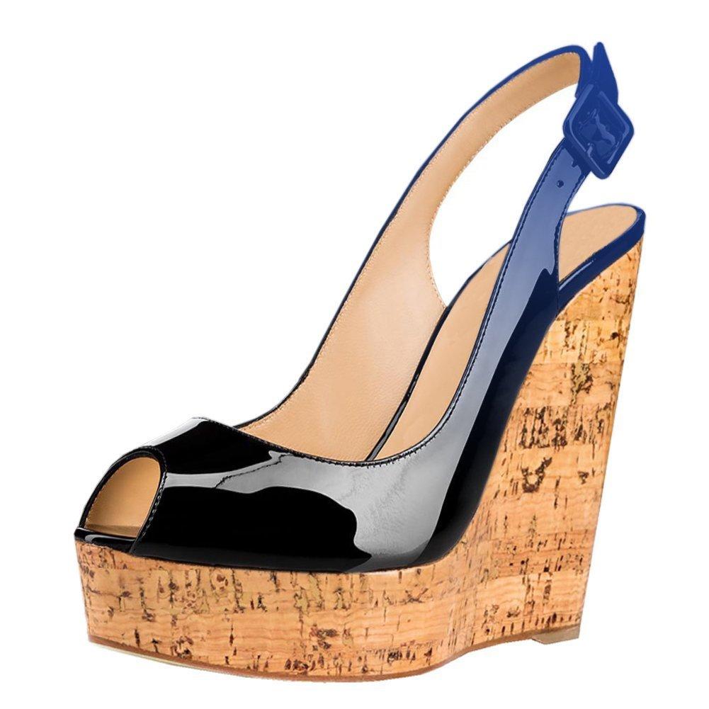 Mermaid Women's Shoes Peep-Toe Patent Leather Sling-Back Wedge Heeled Platform Sandals B07D61DS4B US 5 Feet length 8.73