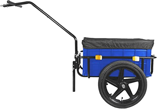 Remolque de carga para bicicleta con caja de 90L azul: Amazon.es ...