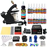 Solong Tattoo Complete Starter Tattoo Kit 1 Pro Machine Guns 14 Inks Power Supply Foot Pedal Needles Grips Tips TK102