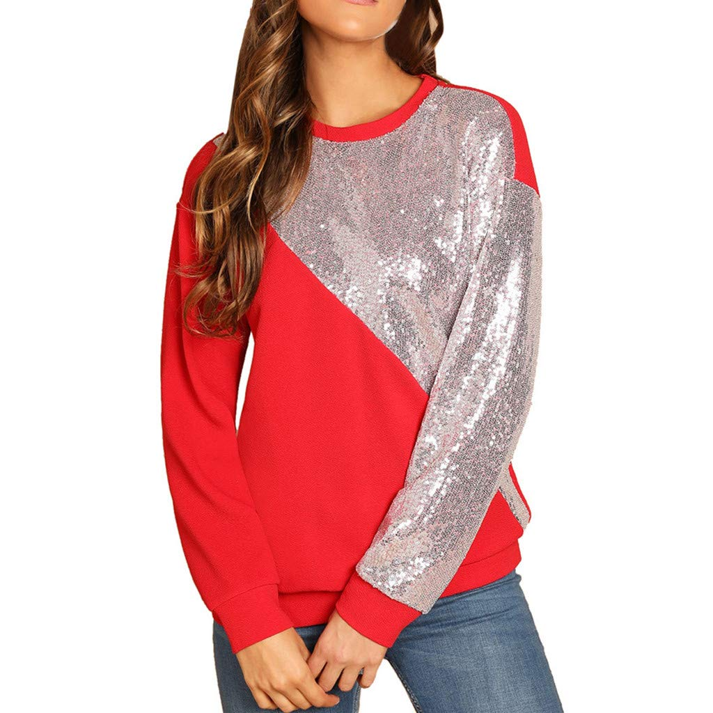 Lmx+3f Fashion Women Blings Sequins Color Block Pullover Scoop Neck Patchwork Sweatshirt Loose Solid Soft Comfy Top Red
