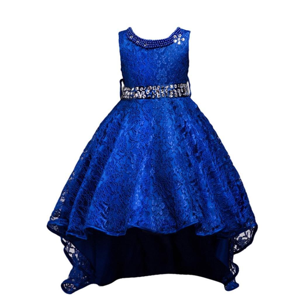 Yoyorule Kids Girl Princess Party Pageant Wedding Bridesmaid Lace Trailing Formal Dresses (5T, Dark blue)