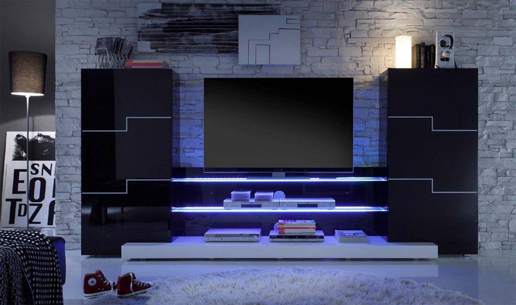 Wohnwand Anbauwand Twin In Schwarz Hochglanz Mit LED Beleuchtung Amazonde Kche Haushalt