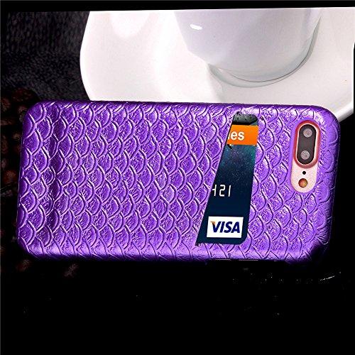 iPhone 7 Plus Hülle, Cozy Hut ® Design Genuine Leather Series Hülle   Apple iPhone 7 Plus   [Mermaid Fischschuppenmuster] Elastisch [lila] Ultimative Schutz vor Stürzen und Stößen - [Skinning-Karte] Z