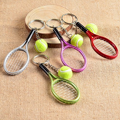 Price comparison product image 1 Piece Mini Tennis Racket Keychain Alloy Car Key Rings Holders for Children-Random Color