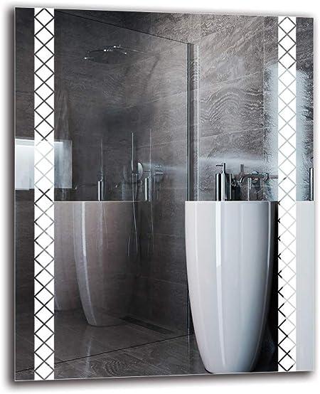 Miroir LED Premium Miroir Mural ARTTOR M1CP-49-40x40 Miroir Lumineux Pr/êt /à laccrochage Miroir avec /éclairage Miroir de Salle de Bain Blanche Chaude 3000K Taille du Miroir 40x40 cm