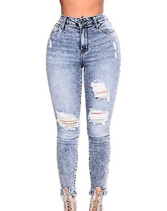 Frauen Sexy Stonewashed Skinny Mittlere Taille Hintern Heben Zerrissene  Jeans Hose Heiße Bleistift Denim Hosen 53c2b9c923
