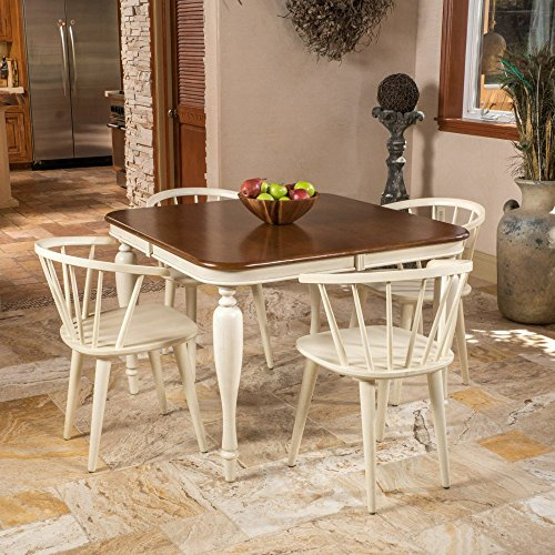 Best Selling Home 5 Piece Square Dining Table Set - Antique White /