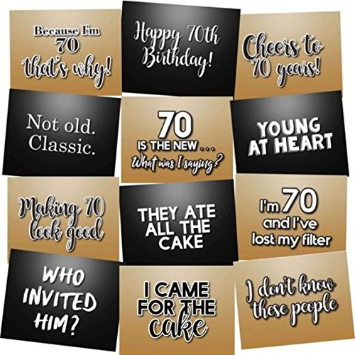70th Birthday Photo Booth Props Accessories Kit Party Signs