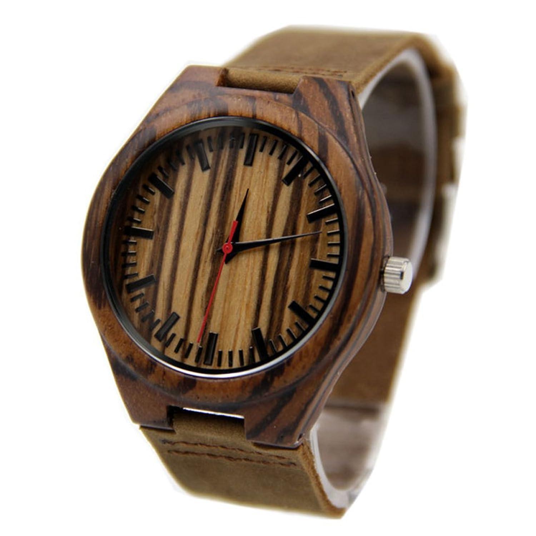 Souarts Damen Schwarz Bambus Holzuhr Streifen Lederarmband Armbanduhr Quartz Analog mit Batterie