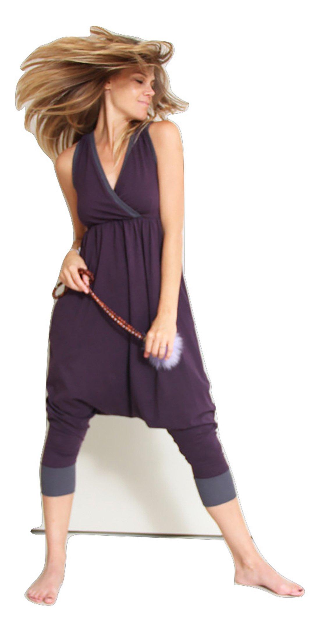 Prancing Leopard Harem Style Jumpsuit ''AIX EN PROVENCE'' in Organic Cotton - S - Plum Purple