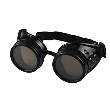 e1b01d177e Ultra Black with Brown Lenses Premium Quality Steampunk Goggles Cyber Glasses  Victorian Punk Style Welding Cosplay Gothic Goth Rustic Rivet Vintage Round  ...