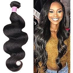 Ali Funmi Brazilian Body Wave Human Hair Bundles Weave Hair 1 Bundle 100g 20inch 100% Unprocessed Virgin Human Hair Weave Strong Weft Hair 8A Grade For African Americans Women Natural Black (20inch)