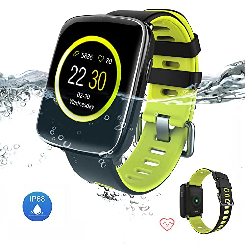 Waterproof IP68 Smart Watch Bluetooth Fitness Tracker With Wrist Heart Rate and Smart Notifications Compatible With iOS & Android(Black-Green)