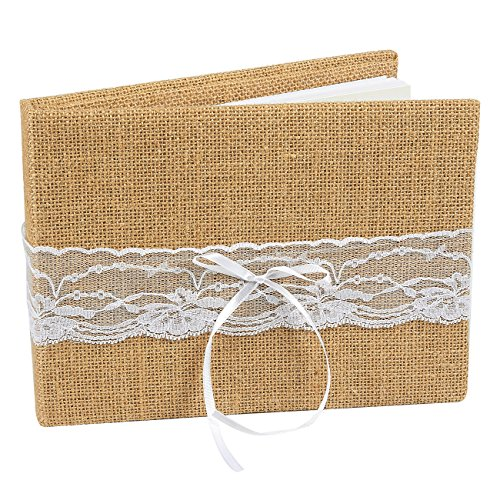 Juvale Wedding Guest Book Burlap Lace Rustic Hardcover Vintage Shabby Chic Decoration, 35 Pages - 9.5 x 7 x 1 Inches