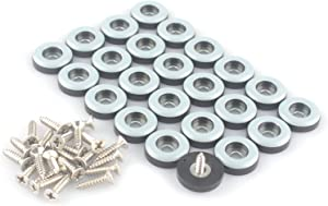 CSFMC Teflon Furniture Sliders Pads(24 Pack 3/4 inch(19mm) Base),Table/Chair/Cabinet/Sofa Small Size PTFE Glides,Stainless Steel Screw on Protect The Floor,Heavy Duty Sliding Block for Furniture