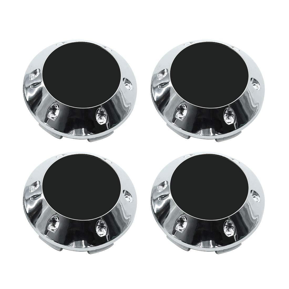 X AUTOHAUX Silver Tone 68mm Car Wheel Tyre Center Hub Caps Cover with Black Sticker 4pcs