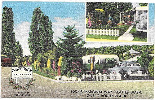 Linen Postcard Evergreen Trailer Park in Seattle, Washington~102109