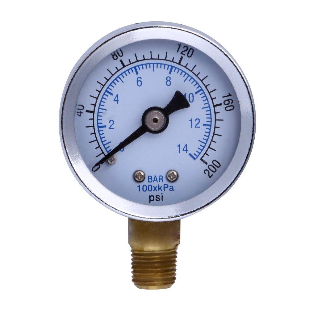 Pressure Gauge Alloet Numeric Metal 1.5 Filled Pressure Gauge Face NPT Air Compressor Hydraulic Pressure Gauge 1 8 200 PSI Side Mount Portable
