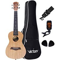 LULALA Deluxe 23' Concert Ukulele Set All Mahogany Aquila String Kit for Bag, Strap, Picks and Tuner