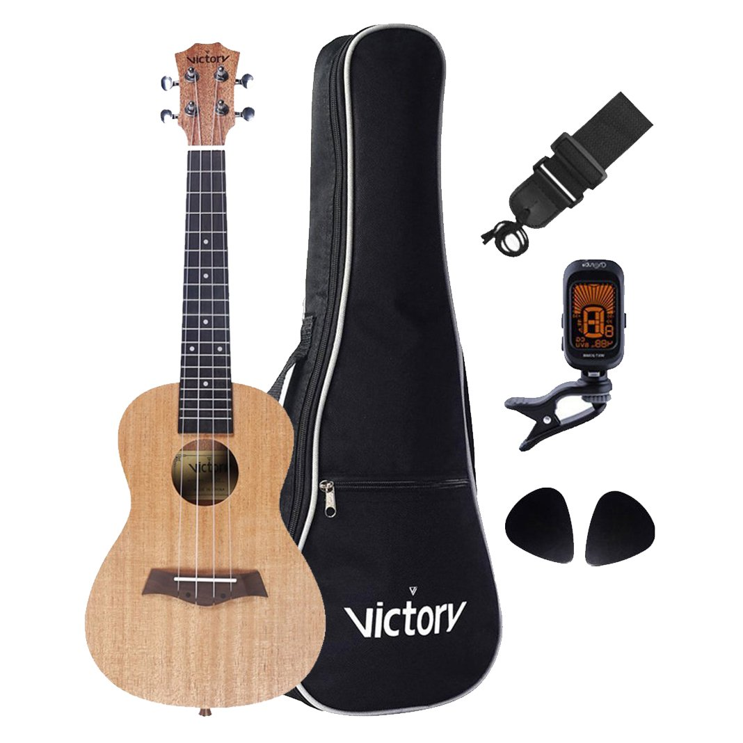 LULALA Deluxe 23' Concert Ukulele Set All Mahogany Aquila String Kit for Bag, Strap, Picks and Clip On Tuner- (Good Choice for Starter) VI VICTORY LUK-001C
