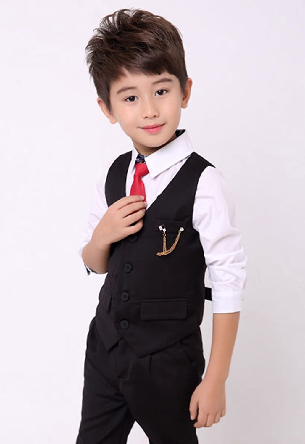Amazon Com Luobobeibei Boys Suits 3 Pieces Slim Fit Fashion Formal