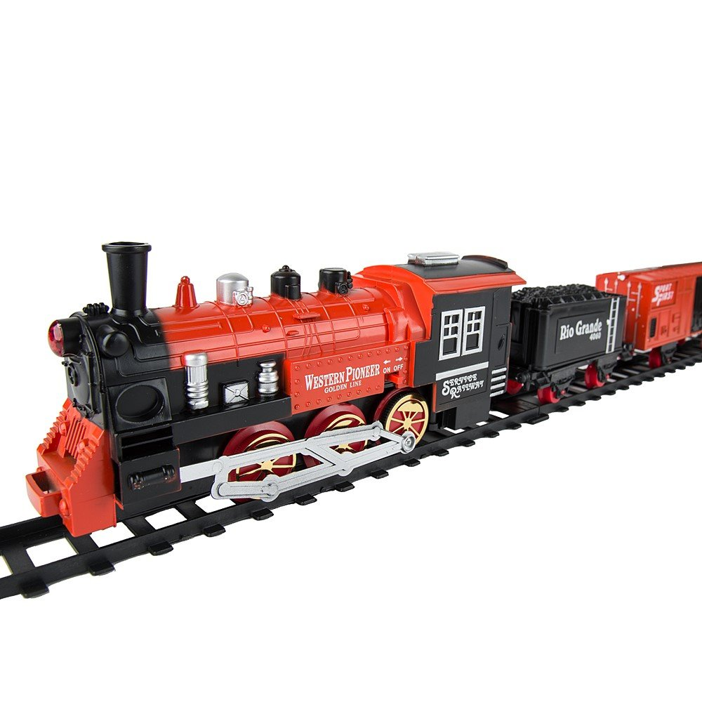 eBigValue Christmas Classic Train Tack / Railway Train Set with Lights &  Holiday Music / Perfect for Christmas Tree Decoration