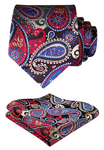 HISDERN Extra Long Floral Paislry Tie Handkerchief Men's Necktie & Pocket Square Set (Red & Blue & Green)