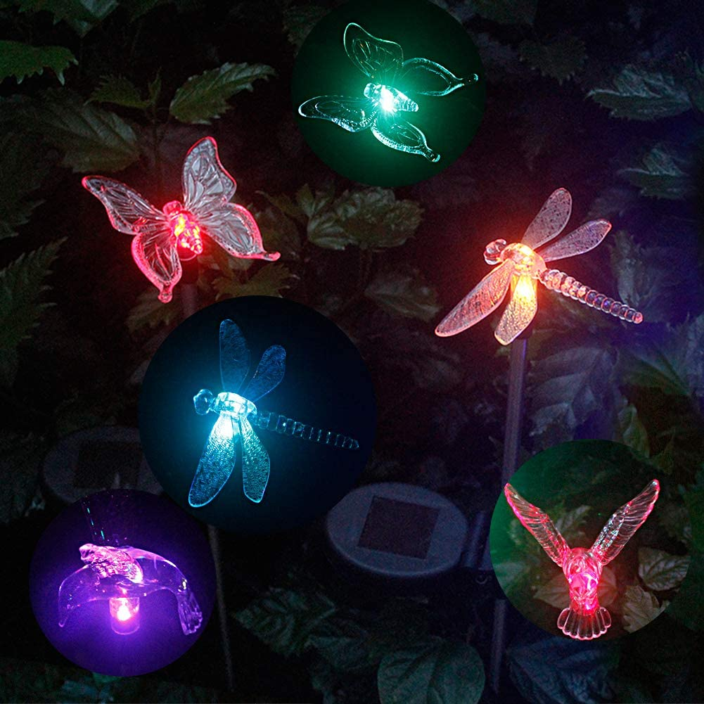 Anordsem 6 Pcs Solar Garden Light Colour Changing LED Dragonfly, Butterfly & Hummingbird Wireless Solar Garden Stake Lights Decor for Fence, Yard, Gardens, Flowerbed