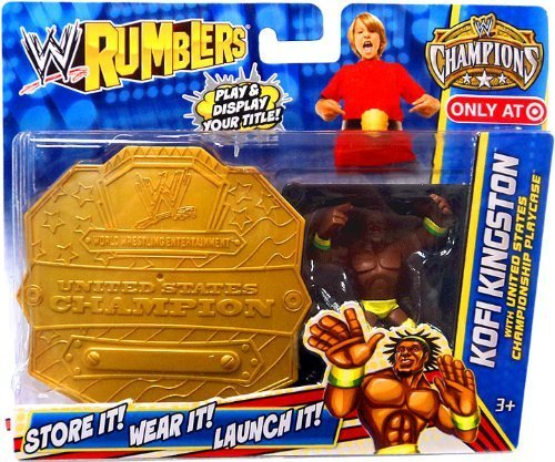 WWE Wrestling Rumblers Exclusive Kofi Kingston with United States Championship Playcase by Mattel