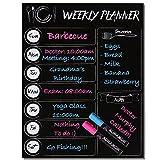 Magnetic Weekly Menu Planner Grocery List Dry Erase Board 7 Day Meal Prep Calendar Organizer Fridge Decal with Liquid Chalk Markers 16x12 Black Kitchen Organization Chalkboard Refrigerator Magnet