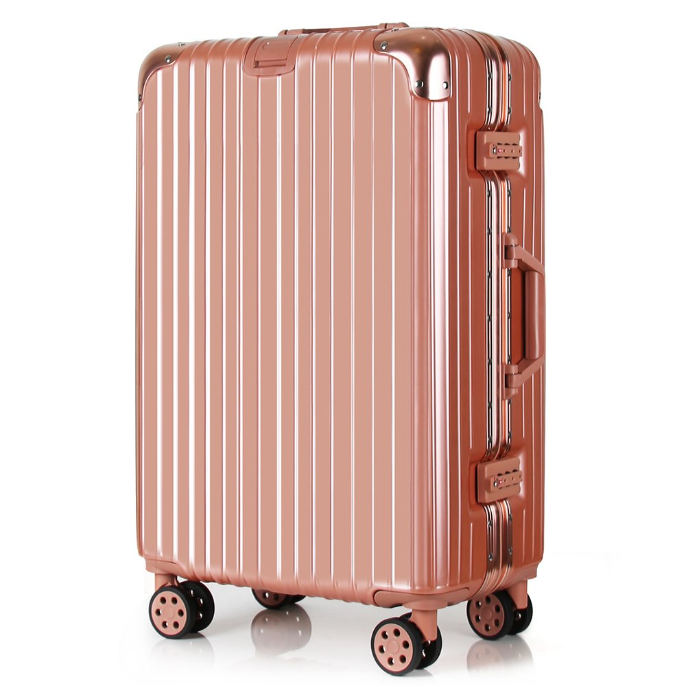Travel luggage Aluminum Frame Light Weight ABS PC Hardshell 360 roller Suitcase Security TSA Locks fit Business Family International Trips 28 inch Rose Gold