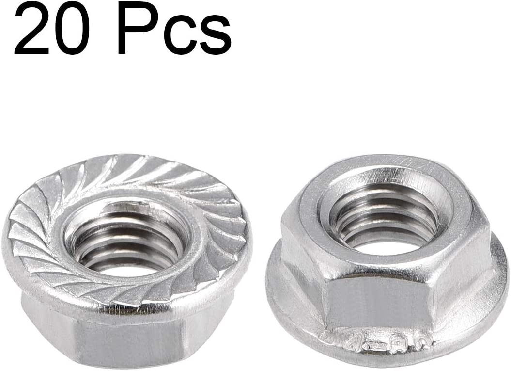 316 Stainless Steel 20 Pcs uxcell M6 Serrated Flange Hex Lock Nuts