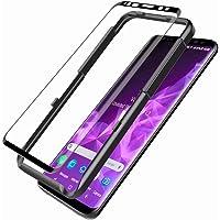 L K Schutzfolie Panzerglas für Samsung Galaxy S9, [9H Härte] [3D Abgerundete] [Vollständige Abdeckung] [Ausrichtungsrahmen Einfache Installation] Gehärtetem Glas Displayschutzfolie - Schwarz