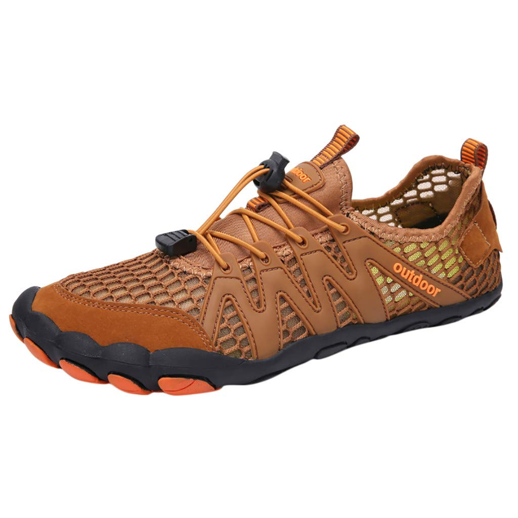 Mens Womens Casual Drawstring Water Shoes Quick Dry Barefoot for Swim Diving Surf Aqua Sports Pool Beach Walking Yoga (9, Brown) by PaJau-Men's Shoes (Image #1)