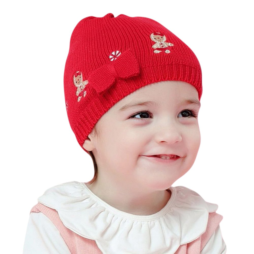 Tortor 1Bacha Infnat Baby Kid Girls Bowtie Gingerbread Man Knit Beanie Hat