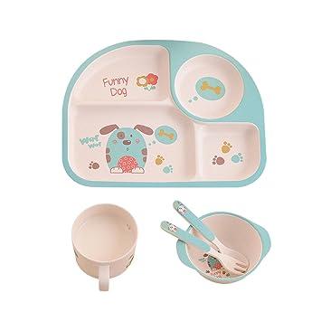 Pueri Kids Dinnerware Set Eco-Friendly Dinner Meal Plate Fork Bowl Cup Spoon Tableware Set  sc 1 st  Amazon.com & Amazon.com : Pueri Kids Dinnerware Set Eco-Friendly Dinner Meal ...