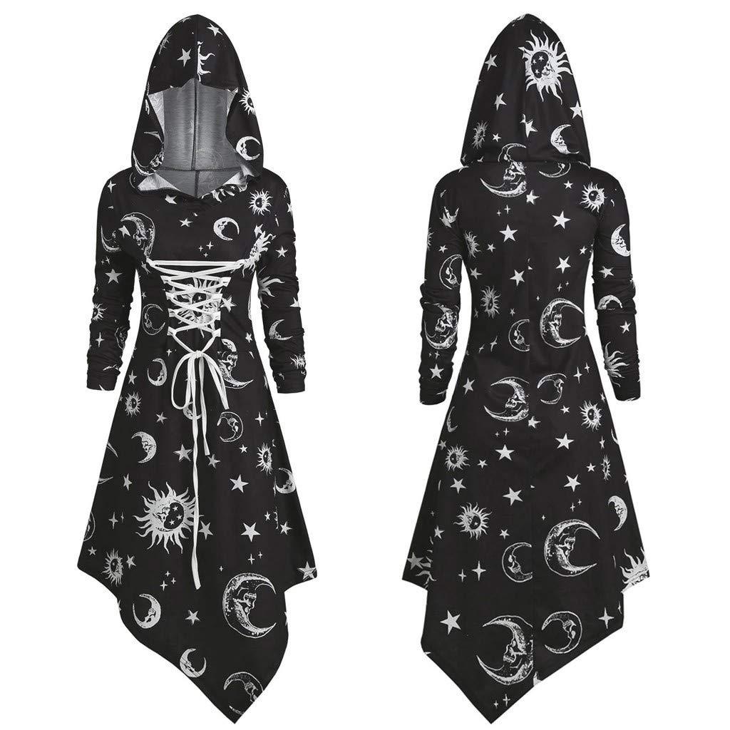 Mittelalter Kleidung Damen Gro/ße Gr/ö/ßen,Frauen Vintage Punk Gothic Mantel High Low Kleid Bluse Tops mit Kapuze,Mittelalter Kleid Mittelalterlichen Halloween Cosplay Kost/üm