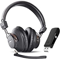 Avantree DG59M Wireless Gaming Headphones Set with Detachable Boom Mic and Bluetooth USB Audio Dongle for PS4, PC…