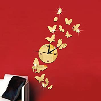 Amazon.com: Drelaclock 3D DIY Butterfly Wall Clock Sticker Large Digital Wall Watch Reloj Pared Modern Design Living Room Duvar Saati Rushed Mirror Gold: ...