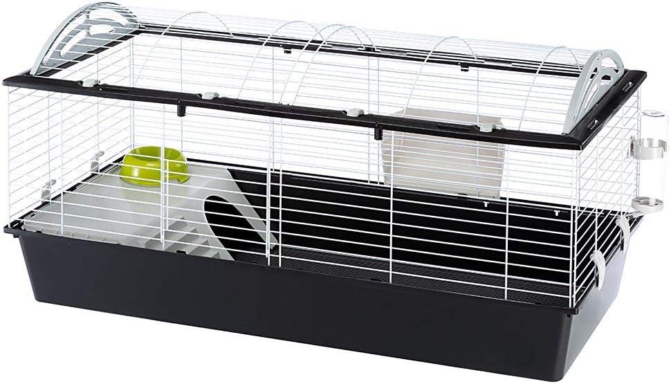 Ferplast Jaula espaciosa para Conejos CASITA 120 para Conejillos de Indias y pequeños Animales, Accesorios incluidos, de Alambre Pintado Blanco y plástico, 119 x 58 x h 60 cm