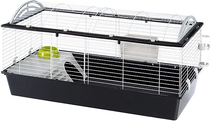 Ferplast Jaula para Conejos CASITA 120 Conejillos de Indias Pequeños Animales, Techo Redondeado Abrible, con Accesorios