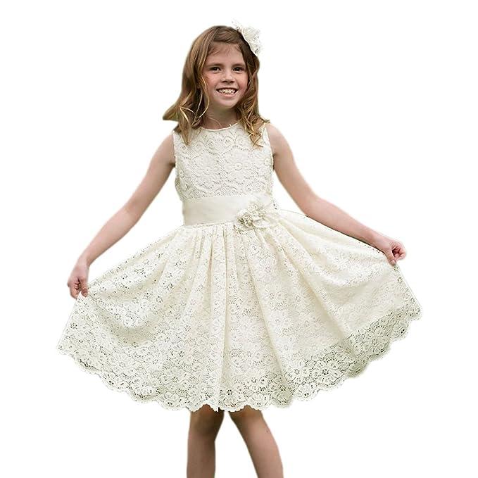 Simple Lace A-line Flower Girls Dresses White Size 6: Amazon